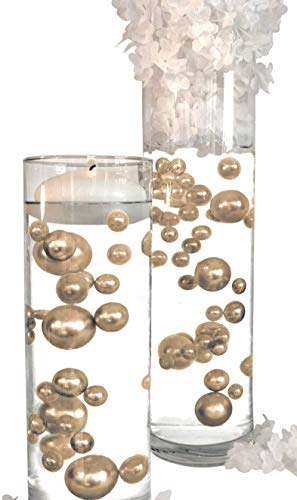 6 Packs Sale Floating No Hole Gold - Jumbo/Assorted Sizes Vase Decorations + Includes Transparent Water Gels for Floating The Pearls