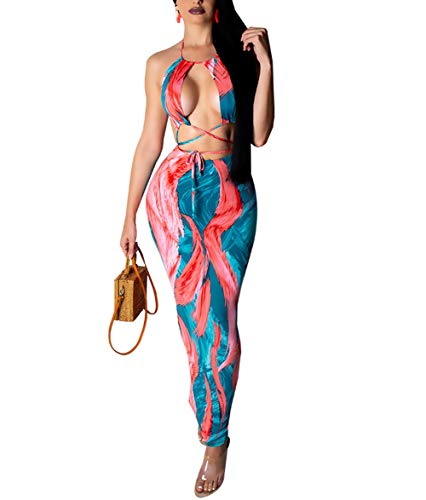 ECHOINE Women Cutout Printed Maxi Dress - Halter Neck Open Back Sleeveless Bodycon Party Long Dresses Blue