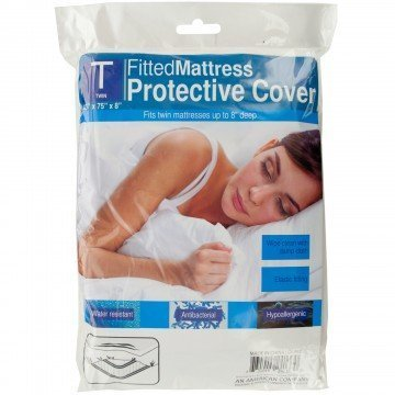 TJK Shop Twin Size Fitted Protective Mattress Cover White Plastic Sheet with Light, Elastic Connection. Container is Water Resistant, Antibacterial and Hypoallergenic