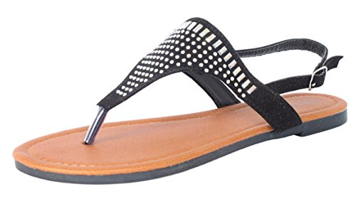 Bebe Girls\' Microsuede With Studded Rhinestone Detail Black Thong Sandals, Size (Detail Thong Sandals)