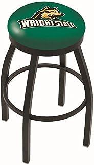 Wright State Raiders HBS Black Swivel Bar Stool with Green Cushion