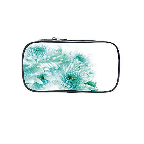 - Diversified Style Pen Bag,Aqua,Abstract Retro Grunge Vintage Tribal Braid Leaf Like Natural Image,Brown White and Turquoise,for Children,3D Print Design.8.7