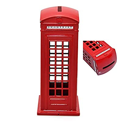"BeeSpring Attractive Metal Alloy Money Coin Spare Change London Street Red Telephone Booth Bank Box-6""H: Home & Kitchen"