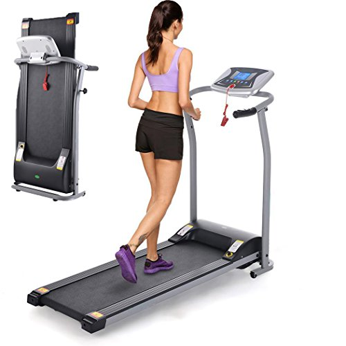 Kaluo 1.5HP Folding Electric Treadmill with LCD Display, Running Training Fitness Treadmill with Heart Rate Sensor and Auto-stop Function for Home Office (US Stock) (Silver)