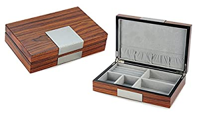 LEO LION Men's Jewelry Box Organizer - Small Jewelry Box for rings, cuff links, earrings, necklaces and small items