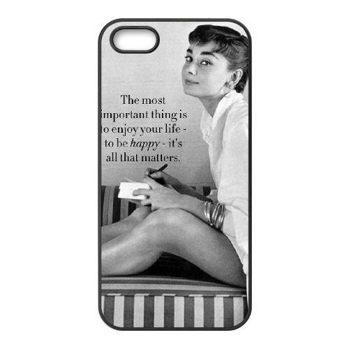 Audrey Hepburn coque iPhone 4 4S Housse téléphone Noir de couverture de cas coque EBDOBCKCO13448