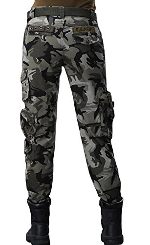 e0dbe7ee36b9a chouyatou Women s Active Loose Fit Military Multi-Pockets Wild Cargo Pants