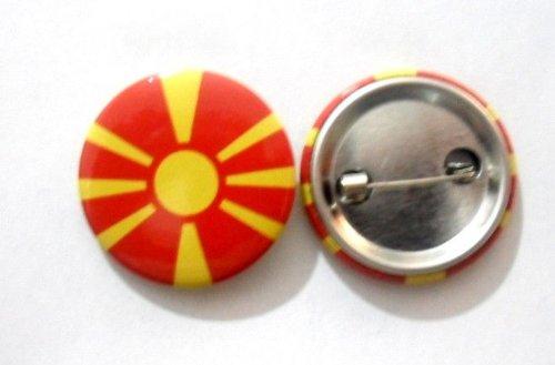National Country Flag Lapel Pin Button Badge Applique Emblem 3 Cm Diameter (Macedonia)