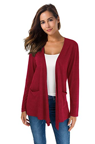TownCat Women's Loose Casual Long Sleeved Open Front Breathable Cardigans with Pocket (Winered1, XL)