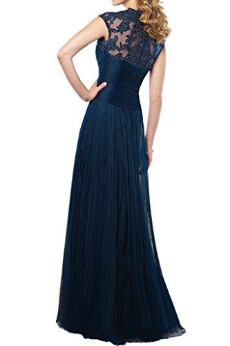 La_mia Braut 2016 Neu Elegant Fuchsia Dunkel Blau Spitze V-ausschnitt Abendkleider Ballkleider Brautmutterkleider Lang -38 Dunkel Blau