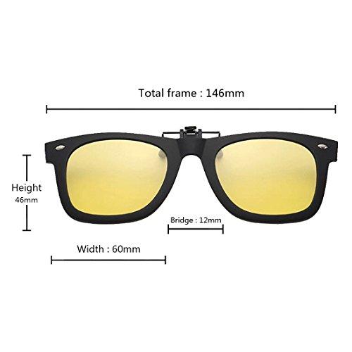 lente libre Flip gafas Clip aire sol de Inlefen on para Amarillo Up polarizadas deportes de al Ta6nqI