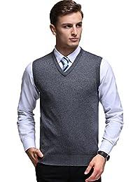 Mens Casual Slim Fit Solid Lightweight V-Neck Sweater Vest