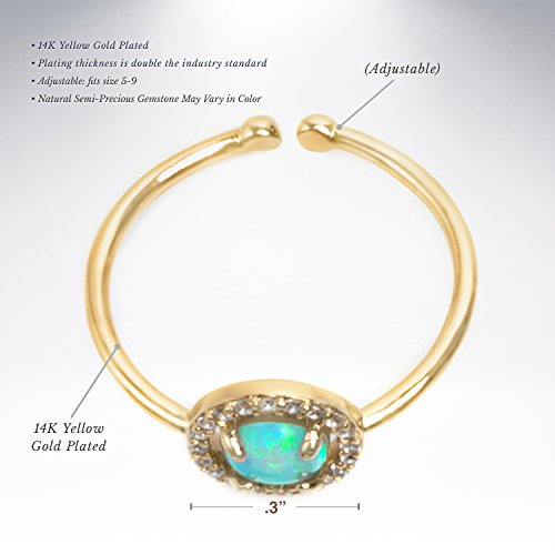 PAVOI 14K Yellow Gold Plated CZ and Created Green Opal Ring by PAVOI (Image #2)