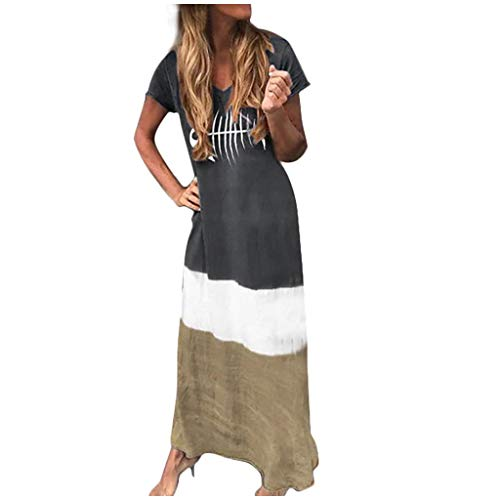 2019 Crew Neck T Shirt Long Mini Dress,Londony Women's Short Sleeve Loose Plain Maxi Dresses Casual Long Dresses Black