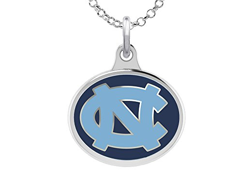 Unc Pendant Sterling Silver Jewelry - North Carolina Tarheels Charm Pendant. Sterling Silver Double Sided Necklace Charm with Enamel