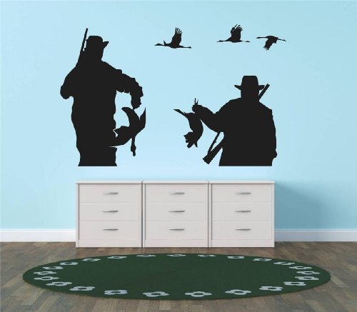 - Decals & Stickers : Hunter Birds Ducks Geese Hunting Shot Gun Living Room Bedroom Kitchen Home Decor Picture Art Image Peel & Stick Graphic Mural Design Decoration - Discounted Sale Price - Size : 30 Inches X 40 Inches - 22 Colors Available