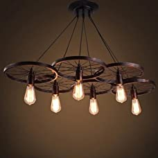 YanCui@ Home Improvement Lighting Industrial Rustic Wagon Wheel Chandeliers Pendant Light Fixture,Dining Room(6 head Without light)