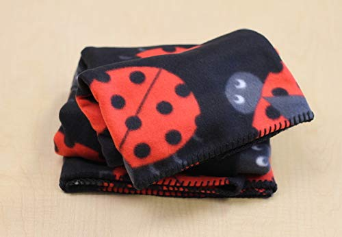 - Ladybug Fleece Throw Blanket with Finished Edges