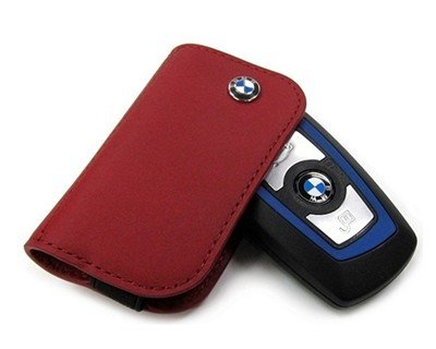 BMW Genuine Stylish Nappa Leather Contrast Key Case 3 H X 1.5 W Red