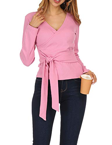 Zumla Women's Sexy Wrap V Neck Long Sleeve Knit Top Tie Front T Shirts Pink S ()
