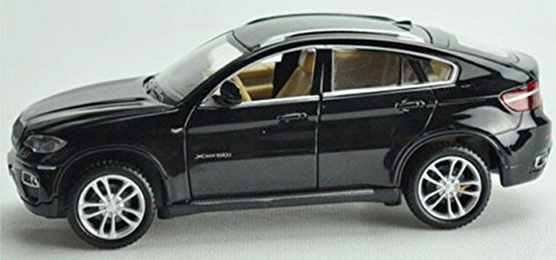 NuoYa001 NEW 1:32 BMW X6 SUV four-door Diecast Car Model Collection with light sound Black (Include a Cycling Reflective Band as gift)