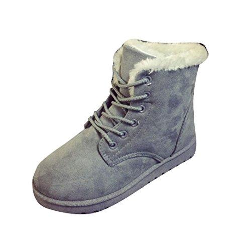 Stivaletti Alla Caviglia Donna Moda Amily Flat Lace Up Foderato Di Pelliccia Invernale Caldo Bootie Grigio