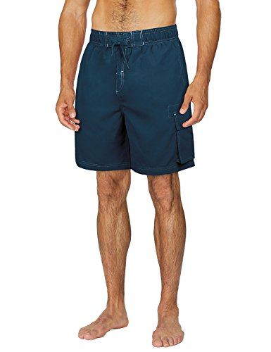 Baleaf Men's Solid Quick Dry Boardshorts Swim Trunks with Cargo Pocket Navy Size L