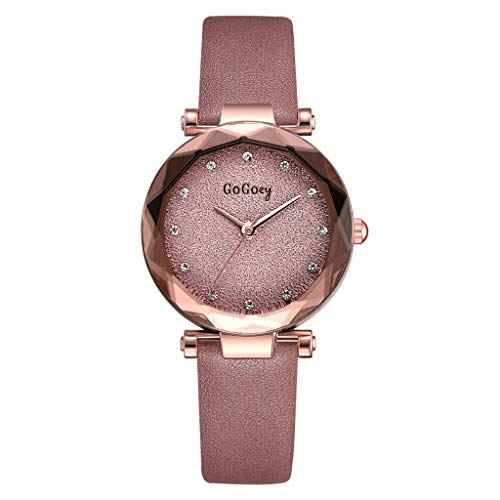 LUCAMORE Womens Quartz Wristwatch Exquisite Casual Watch Unique Dress Watch Rhinestone Dial with Leather Band ()