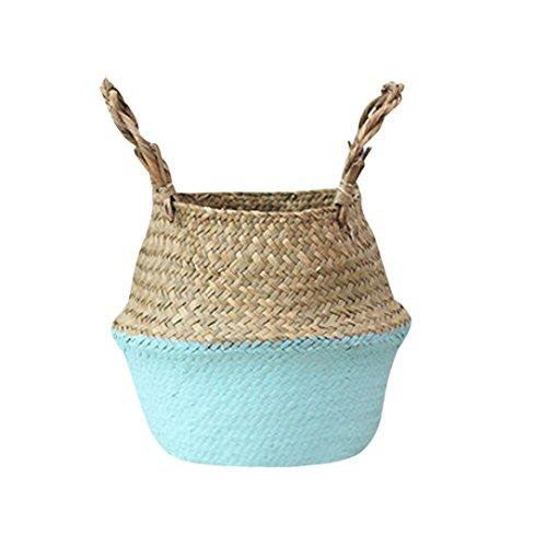 Yeefant Seagrass Wicker Flower Pot Folding Dirty Basket Wove