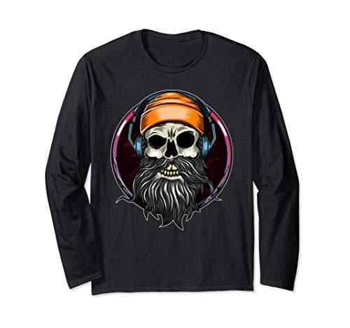 Skull with Headphones Longsleeve Shirt Music Biker