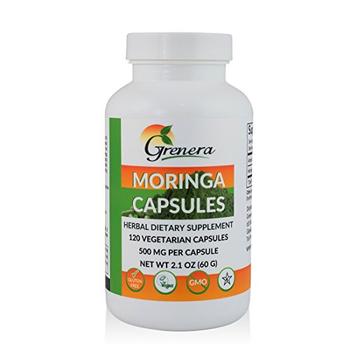 Grenera Moringa Capsules - 120 Vegetarian Capsules/Bottle - Made with USDA Organic Moringa Leaf Powder/ Malunggay Capsules
