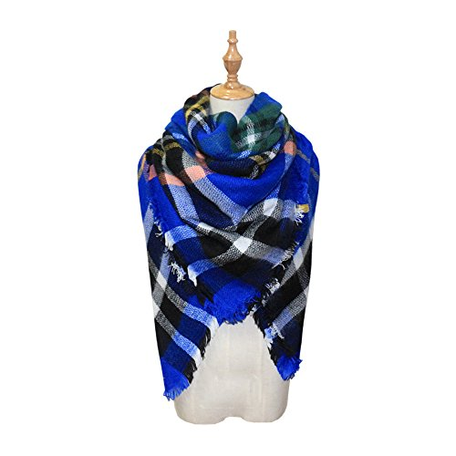 Women's Trendy Plaid Scarfs Warm Fall Soft Blanket Cozy Tartan Wrap Shawl