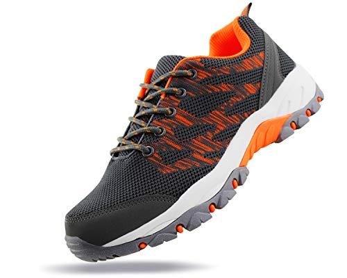 JABASIC Women Outdoor Hiking Shoes Lightweight Knit Sneakers (10,Grey/Orange)