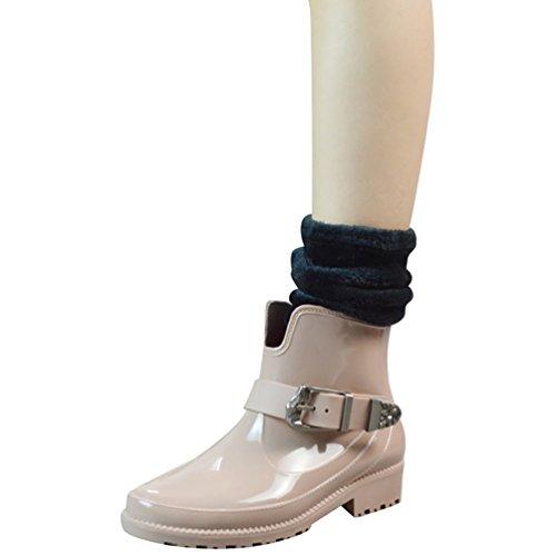 LvRao Señoras Boots de Goma con Tacón Zapatos de Lluvia Nieve Impermeable Botines Tobillo Botas de Jardín para Mujeres Beige con Calcetines