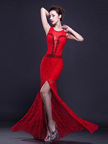 Rosso Sul emily collo In Aperto See Pizzo Bodycon Lato Beauty through Del O Vestito Da Sera HqZSaOnxA