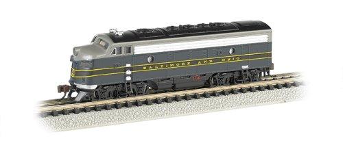 - Bachmann Industries EMD F7-A Diesel Locomotive DCC Equipped B and O Train Car, Blue/Gray/Black, N Scale