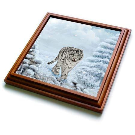 3dRose Heike Köhnen Design Animal - Wonderful white tiger in a winter landscape - 8x8 Trivet with 6x6 ceramic tile (trv_289145_1) ()