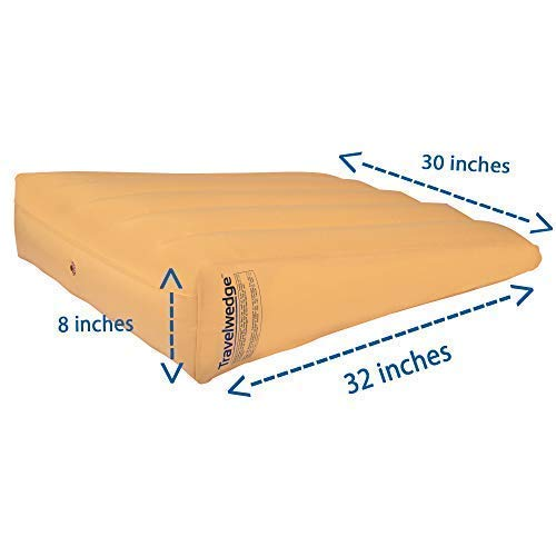 Inflatable Bed Wedge Pillow, Acid Reflux Wedge, Sleep with Your Head Raised, 32L,30W,8H Weighs 2.2 Pounds (Wedge ONLY, Does NOT Include Pump OR Cover) by Travelwedge