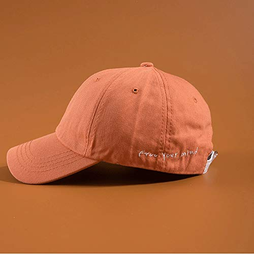 HXXBY Simple Embroidered Long Belt Baseball Cap Men and Women Spring and Autumn Wild Bends Japanese Soft top Cap White Baseball Cap (Color : Orange)