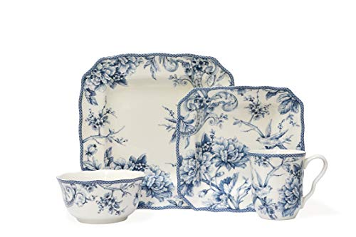 222 Fifth Adelaide Blue 16-piece Dinnerware Set, Service for
