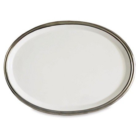 (New 15in Oval Serving Platter White & Silver )
