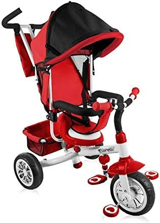 Lorelli Triciclo B302A con Techo, biela, Asiento Blando, Cesta, Asiento Interior, Color:Rojo