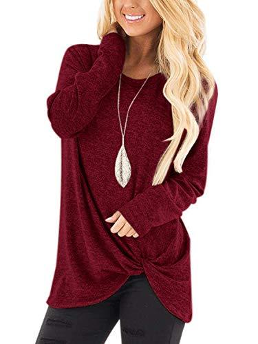 Womens Loose Knit Tunic Blouse Sweatshirts Twist Side Knot Henley Tops Long Sleeve Plain Shirts Size M
