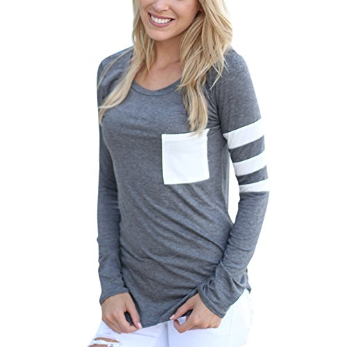 Comemall Girl Workout Jogging T-Shirt Fitted Long Sleeve Tops Grey (Medium Long Sleeve Top)