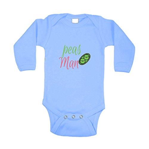 Cute Rascals Peas Man! Peace Sig Long Sleeve Baby Bodysuit One Piece Light Blue 18 Months