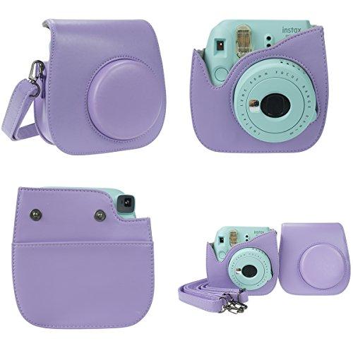 Anter 17 in 1 Instax Mini 9 Mini 8 Mini 8+ Accessories for Fujifilm Instax Instant Film Camera with Case/ Pen/ Stickers/ Frame/ Memo Clip/ Cloth/ Album/Selfie Lens/ Filters/ Strap (Mysterious Purple)