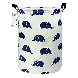 FANKANG Storage Bins, Nursery Hamper Canvas Laundry Basket Foldable with Waterproof PE Coating Large Storage Baskets for Kids Boys and Girls, Office, Bedroom, Clothes,Toys (Blue Elephant)