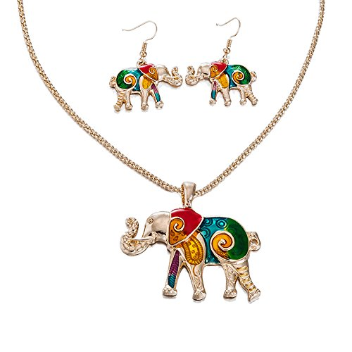 Elephant Necklace And Earrings Set 18k Gold Plated Stainless Steel With Enamel Elephant Necklace Jewelry