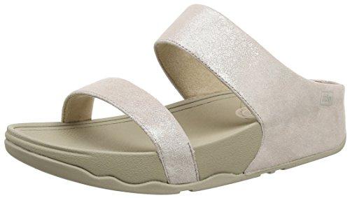 FitflopLulu Shimmersuede Slide - sandalias mujer Beige (Nude)