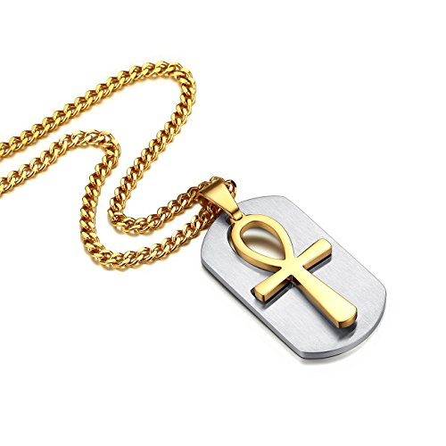 Reve Stainless Steel Egyptian Coptic Ankh Cross Religious Pendant Necklace for Men Women, 22-24'' Chain (Gold Tone Dog Tag: 22'' Chain)